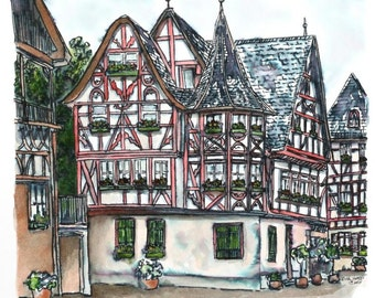 "Germany Architectural Art Streetscape Speedball Pen Watercolor Cityscape Wall Decor 10"" x 10"" red green blue"