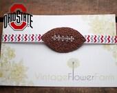 Beaded Rhinestone Ohio State Football Headband