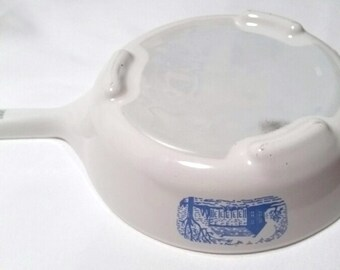 Corning Ware microwave browning skillet with blue colonial house pattern 1970s
