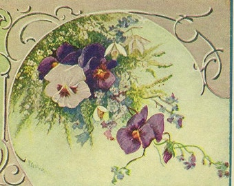 Language of Flowers Vintage Postcard Snowdrops Pansies Forget-me-Nots Bluebells and Heather With C Preston-Wynne Poem 1911