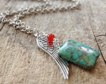 Exotic Men's Necklace, Charm Necklace, Mosaic Turquoise, Silver Wing Charm, Bohemian Necklace, Bohemian Jewelry, Mother's Day