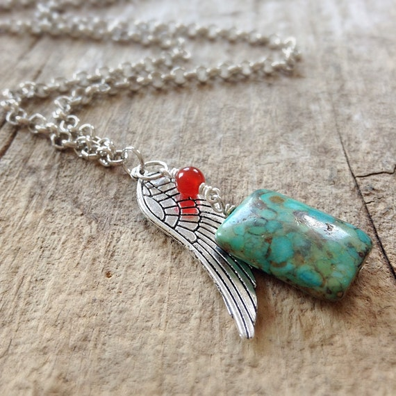 Exotic Men's Necklace, Charm Necklace, Mosaic Turquoise, Silver Wing Charm, Bohemian Necklace, Bohemian Jewelry