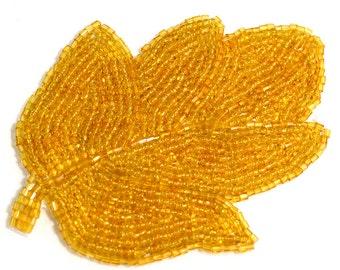 Amber Beaded Leaf Applique