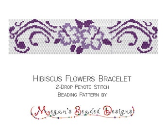 Bead Pattern 2-Drop Peyote Bracelet Hibiscus Flowers Design