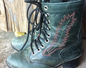 Green tall Ankle Bootie Shoes Roper Boots small size