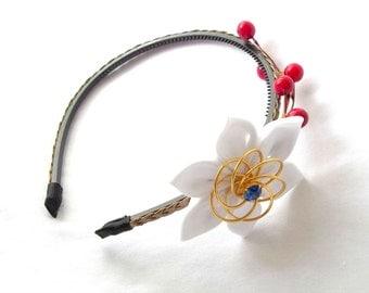 Red White and Blue Tsumami Kanzashi Headband Hair Flower
