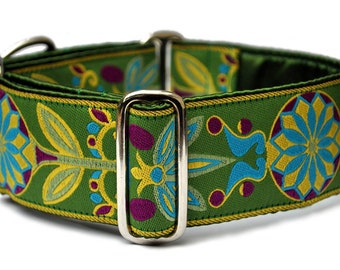 Martingale Collar or Buckle Dog Collar - Pinwheel Jaquard in Green & Yellow - 2 Inch, Greyhound Collar, Great Dane Collar, Custom Dog Collar