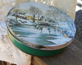 Small Vintage Christmas Winter Candy Tin
