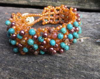 Beaded Cuff Bracelet in Browns and Turquoise Right Angle Weave Embellished Handwoven