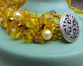 Yellow Glass Beaded Bracelet Woven Jewelry Handmade Cuff Bracelet