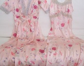 ANTIQUE, Flapper Pink ROSES, Flowers Satin Bias Cut Nightgown & Robe Set...Hollywood Glam