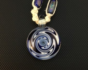 Blue and White Glass Switchback Pendant on Macrame Necklace with Matching Beads