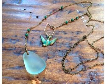 Seaglass lariat necklace