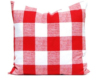Buffalo Plaid Throw Pillow Cover - Red Pillow Covers - Large Scale Plaid Pillow Cover - Blue Buffalo Check - Gingham Pillow Covers