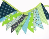 Eco-Friendly Reusable Fabric Bunting, Banner, Pennant, Flag, Garland, Photo Prop, Decoration in Denyse Schmidt Blue Green Florals
