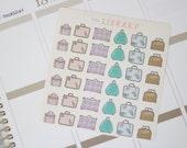 36 Vintage Suitcase Hand Drawn Planner Stickers, Perfect for Erin Condren, Kikki K, Plum Paper, Filofax, inkwell press, Happy Planner