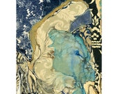 Abstract art print, blue gold mixed media, watercolor ink collage, Colonization: Wallpaper Lake