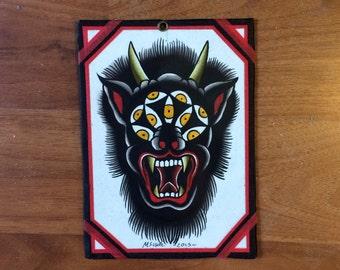 Original watercolor painting of demon