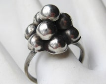 Vintage Ring Taxco Mexican Sterling Silver Mid Century Modernist Ball Ring