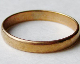 Vintage Antique Ostby & Barton Art Deco 10k Yellow Gold Wedding Band Ring size 3