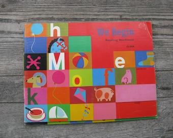 we begin reading readiness book macmillian 1970 soft cover mid century primer multi racial