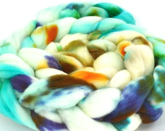 Cormo Wool Top, Hand Dyed, Spinning and Felting Fiber Colorway- Breezy
