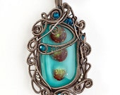 OOAK Summer red and turquoise blue glass wire wrapped pendant