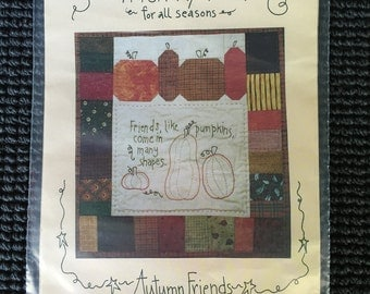 Crazyfolk Autumn Friends Stitchery Quilt Pattern Pumpkins Fall