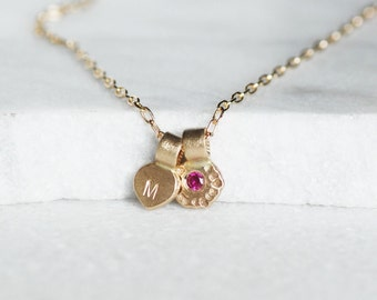 Ruby Initial Necklace - 14k Gold and Flower Petal Necklace - Choose Ruby OR Diamond - Personalized Necklace