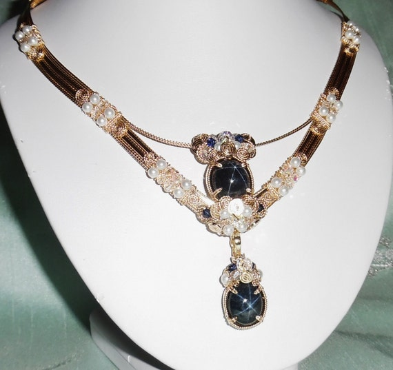53 cts NATURAL Deep Blue 6 Star Sapphire stones, 14kt yellow gold 2 in 1 Necklace