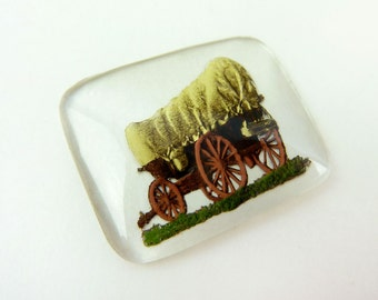 Covered Wagon Intaglio- Reverse Painted Crystal- Vintage Carved Cabochon- Crystal Glass Cameo-New Old Stock - Cab