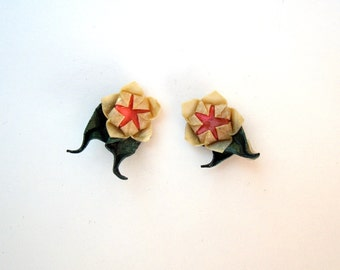 origami cherry blossom sakura stud earrings