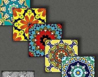 Printable Digital Collage Sheet - Digital Art - 1 Inch Squares - Mandalas -  Kaleidoscopes - Pendants -  Printable - Instant Download CS 141