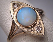 Antique Victorian Australian Opal Old Cut Diamond Ring Vintage Wedding