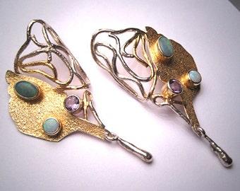 Vintage Australian Opal Amethyst Earrings Gold Silver Modernist