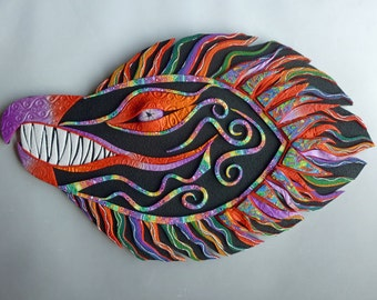 Rainbow Dragon Polymer Clay Wall Art Sculpture or Clock in Black and Rainbow Crazy Stripe