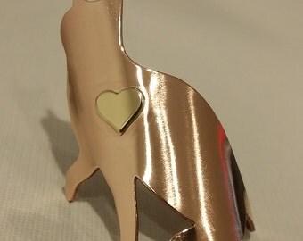 Bronze Cat Heart Head Badge