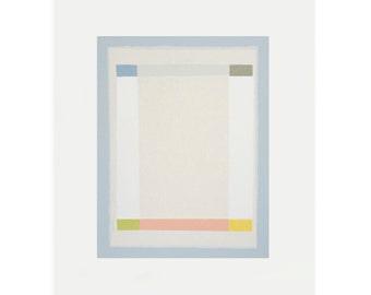 geometric/grid abstract  screenprint in nine colours, simple modern geometric abstract art by Emma Lawrenson, handmade on paper.