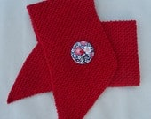Girl's scarflette/neckwarmer hand knitted in red soft cotton mix yarn.