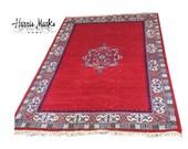 Moroccan Rug Wool Large Vintage Center Medallion Red Tribal