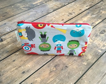 Clearance*** Pencil Case/Cosmetic Bag/ Gadget Case -  Superheroes - Ready to Ship