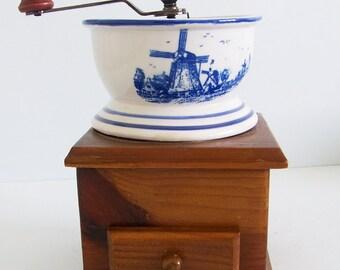 Vintage Coffee Grinder Delft Windmill Scene