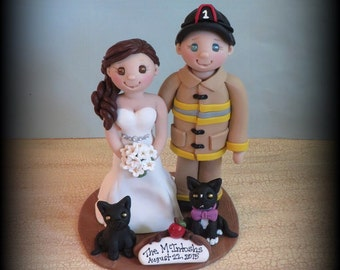 Wedding Cake Topper, Custom Cake Topper, Firefighter, Bride and Fireman, Pet, Polymer Clay, Personalized, Wedding Keepsake