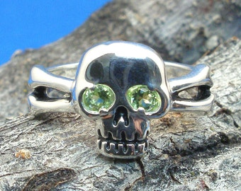 Peridot Skull and Cross Bones Ring, August Birthstone, Hand Crafted Recycled Sterling Silver, handmade Jolly Roger Pirate ring