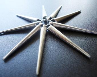 "Metal Spike Pendants / Charms - Antique Silver - 1 1/4"" Long"