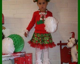 Grinch Skirt Set - Elf Feet Skirt Set - Infant Toddler Youth Girl Sizes