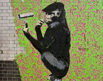 Banksy Canvas (READY TO HANG) - French Monkey (Vertical) - Multiple Canvas Sizes