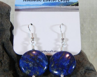 Blue lapis circle earrings September December birthstone semiprecious stone jewelry packaged in a colorful gift bag 2959