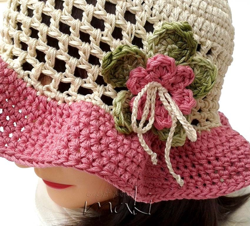 Free Crochet Summer Hat Patterns For Adults : Crochet pattern Lea summer hat Toddler child and adult