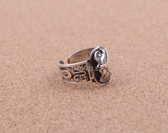Large Real Solid Silver Egyptian Pharaoh Ramses With Ankh Ring Gift